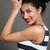 feliz · africano · americano · mulher · jovem · lábios · vermelhos · cinza · mulher - foto stock © deandrobot