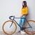 sorrindo · em · pé · bicicleta · retrato - foto stock © deandrobot