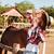 mooi · meisje · zwart · haar · paard · mooie · vrouw · oranje - stockfoto © deandrobot