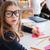 criança · sessão · escolas · secretária · óculos · little · girl - foto stock © deandrobot