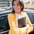 souriant · femme · d'affaires · permanent · jaune - photo stock © deandrobot