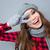 смеясь · женщину · кустарник · Hat · Постоянный - Сток-фото © deandrobot