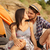 çift · öpüşme · plaj · gitar · müzik · gülümseme - stok fotoğraf © deandrobot