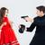 nő · táska · férfi · rabló · fegyver · ijedt - stock fotó © deandrobot