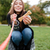 küçük · gülen · kız · oynama · köpek · yavrusu · yaz - stok fotoğraf © deandrobot