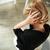 женщину · закрыто · ушки · рук · белый - Сток-фото © deandrobot
