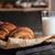 pastries on dark wooden table stock photo © deandrobot