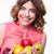 молодые · счастливым · улыбаясь · красивая · женщина · яблоко · вьющиеся · волосы - Сток-фото © deandrobot