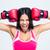 mulher · bonita · luvas · de · boxe · lutador · veja · vermelho - foto stock © deandrobot