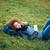 mulher · grama · verde · respiração · amoroso - foto stock © deandrobot