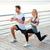 gülen · çift · bacaklar · plaj · uygunluk - stok fotoğraf © deandrobot