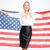gelukkig · zakenvrouw · USA · vlag · geïsoleerd - stockfoto © deandrobot