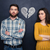 couple after argument standing separately over blackboard background stock photo © deandrobot