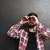 engraçado · homem · binóculo · isolado · branco · mão - foto stock © deandrobot