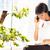 mujer · de · negocios · hablar · teléfono · oficina · feliz · nina - foto stock © deandrobot
