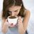 yatak · odası · genç · kadın · içmek · kahve · yatak · beyaz - stok fotoğraf © deandrobot