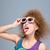 kadın · güneş · gözlüğü · dil · siyah - stok fotoğraf © deandrobot