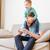 peu · garçon · père · yeux · jouer · ordinateur - photo stock © deandrobot