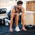 ハンサム · 選手 · 脚 · ストレッチング · 市 - ストックフォト © deandrobot