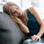 retrato · mulher · jovem · adormecido · sofá · mulher · casa - foto stock © deandrobot