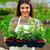 fiatal · nő · tart · virágcserép · portré · fiatal · gyönyörű · nő - stock fotó © deandrobot