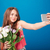 pretty smiling young woman with bouquet of tulips taking selfie stock photo © deandrobot