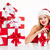 woman in santa claus costume with gifts talking on telephone stock photo © deandrobot