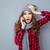wow · favori · chanson · jeune · femme · écouter - photo stock © deandrobot