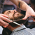 handen · professionele · kapper · mooie · brunette · haren - stockfoto © deandrobot