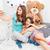 boldog · lány · készít · valami · otthon · emberek · gyerekek - stock fotó © deandrobot