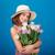 vrolijk · mooie · meisje · hoed · boeket - stockfoto © deandrobot