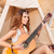 happy hippie girl playing guitar while sitting at the tent stock photo © deandrobot