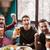 gelukkig · mannen · vrienden · vergadering · cafe · drinken - stockfoto © deandrobot