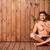 férfi · ül · mosolyog · mosoly · portré · úszómedence - stock fotó © deandrobot