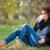 gülen · güzel · bir · kadın · içme · sıcak · kahve · açık · havada - stok fotoğraf © deandrobot