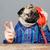 amazed man with pug dog head talking on telephone stock photo © deandrobot