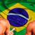 feliz · ventilador · Brasil · bandeira - foto stock © deandrobot
