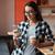 femme · potable · café · jeune · femme - photo stock © deandrobot