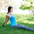 fitness woman doing stretching exercsises in park stock photo © deandrobot