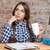 женщину · сидят · таблице · мышления · домашнее · задание · портрет - Сток-фото © deandrobot