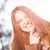 grappig · vrouw · naar · camera · portret - stockfoto © deandrobot