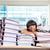 女性実業家 · 座って · 表 · 多くの · 作業 · オフィス - ストックフォト © deandrobot