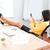 exitoso · mujer · de · negocios · escritorio · blanco · feliz - foto stock © deandrobot
