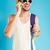 glimlachend · knap · jonge · man · zonnebril · praten · mobiele · telefoon - stockfoto © deandrobot