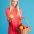 улыбающаяся · женщина · корзины · плодов · улыбаясь - Сток-фото © deandrobot