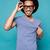 blu · uomo · tshirt · isolato · bianco · primo · piano - foto d'archivio © deandrobot