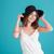 ritratto · felice · sorridere · ragazza · indossare · Hat - foto d'archivio © deandrobot