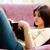 gericht · brunette · lezing · boek · sofa · home - stockfoto © deandrobot