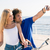 man and woman making selfie photo on smartphone stock photo © deandrobot