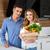 Porträt · lächelnd · Paar · halten · frischem · Gemüse · Frau - stock foto © deandrobot